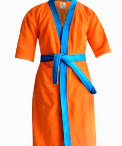 Loomkart Very Fine Export Quality Bath Robes in Orange With Blue Very Soft Velvet Finish in Avioni Zip-Packing- Standard Size