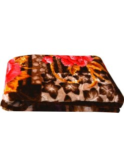 Mink Double Bed Blankets Embossed Floral Coffee Multicolor Very Soft And Warm by Avioni