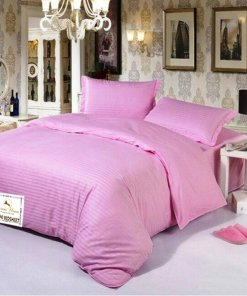 Double Bed Sheet 100% Cotton 200 TC Plain Satin Stripes in Pink In Avioni Packing