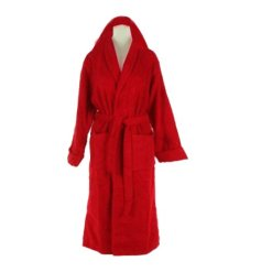 Bathrobes With Hood Fine Export Quality 100% Cotton Unisex in Red Color by Avioni