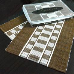 Avioni Premium Cotton Ribbed Table Mats Horizon Collection Export Quality Brown stripes ( Set of 7)