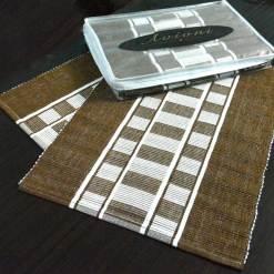 Avioni Premium Cotton Ribbed Table Mats Horizon Collection Export Quality Brown stripes ( Set of 7)