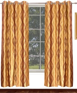 Avioni Home Fancy Rich Look  Purple And Golden Waves Eyelet Curtain Polyester Material