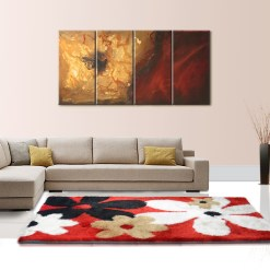 Buy Shaggy Rugs for living Room – Modern Red With Flowers Design – Best Price By Avioni