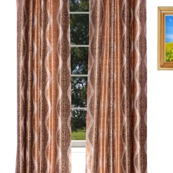Avioni Home Fancy Rich Look  Brown Leaves  Eyelet Curtain Polyester Material