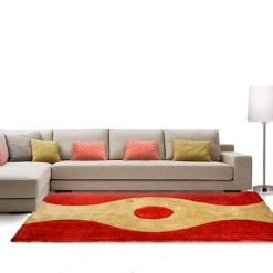 Shag Rug – Red & Beige Carpet in Modern Design  –  Avioni  – Best Deal