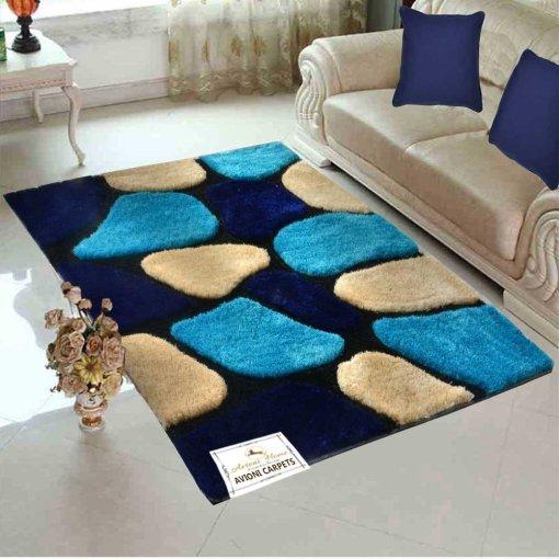 "Designer Rug-Shaggy Modern Rugs with ""Stones on Blue Background"" Design-Best Seller@Avioni Factory Price"