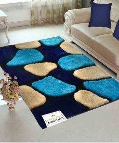 """Designer Rugs From Avioni - Shaggy Modern Rugs with """"Stones on Blue Background"""" Design  -  Best Seller @ Avioni Factory Price"""