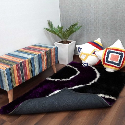Shaggy Carpets Purple With Black Curve By Avioni