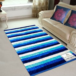 Avioni Rugs  Blue Stripes Royal Rug/ Carpets For Living Room Actual Feather Touch- Softness Guaranteed-Handloom Made Reversible Light Weight   -3 Feet X 5 Feet