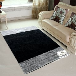 Avioni Handloom Rugs Carpets For Living Room In Feather Touch In Black And Gray   -3 Feet X 5 Feet