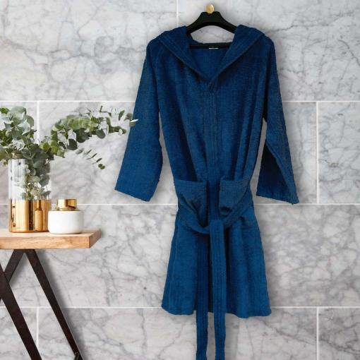 Loomkart Very Fine Export Quality Bath Robes  in Navy Blue With Hood in Avioni Zip-Packing Unisex