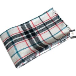 Wool Blankets Premium In Tartan Design Check in White Background By Msf