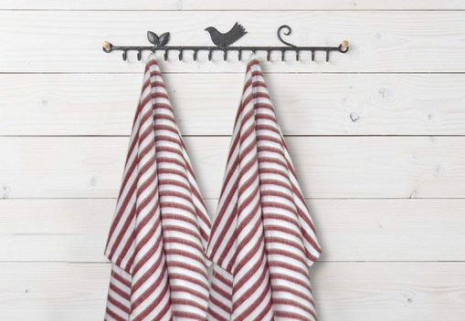 Kitchen Towels / Napkins 100% Cotton (Set Of Six) Red Lines