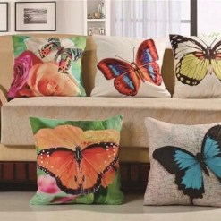 3D Cushion Covers Butterfly On Flowers – Best Price 16 X 16 Inch (set of 5) by Avioni