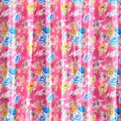 Avioni Premium Floral Pink & Blue Polyester Window And Door Curtains Heavy Material (Set of 2)