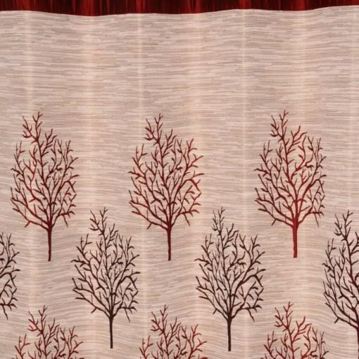 Avioni Premium Tree of Life Jute Panel Red Window And Door Curtains Heavy Material (Set of 2)