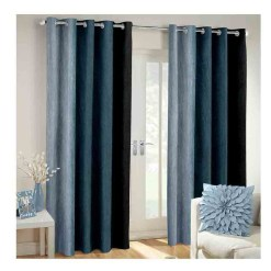 Avioni Beautiful Long Crush Stripes Gray Shades Window And Door Curtains Heavy Material (Set of 2)