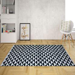 Avioni Lux Handloom Artistically Weaved Cotton Durries-Black & White- 92×152 (3×5 Feet)