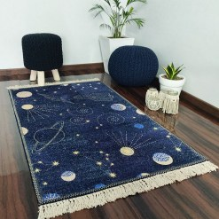 Avioni Carpets for Kids Room Silk- Kids Collection Rocket in Galaxy – 92 cm X 152 cm (3X5 Feet)