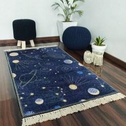 Avioni Carpets for Kids Room Silk- Kids Collection Rocket in Galaxy – 92 cm X 152 cm (3X5 Feet)