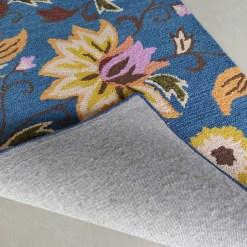 Avioni Wool Carpet Loop Piled Hand Tufted Floral Pink On Blue – 92×152 cms ( 3×5 Feet)