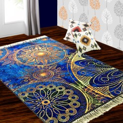 Silk Carpet Modern Design Collection Blue Mandala – Living Room Rug – 3×5 Feet  (90 x 150 cms)-Avioni
