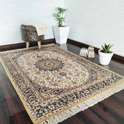 Silk Carpet Persian Design Collection Black And Beige  – Living Room Rug -Avioni