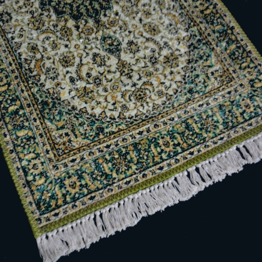 Silk Carpet Persian Design Collection Green And Beige  – Living Room Rug -Avioni