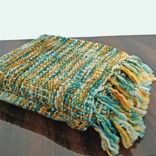 Avioni Sofa Throws/Blankets Super Soft Acrylic Handloom Weaved Blue Multicolour – (Aura Collection)-127×152 cm (50 x 60 Inch)