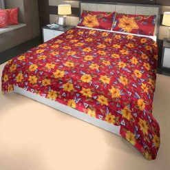 Microfiber Filling Heavy Weight Quilt(Razai) Red Flowers- Chenille