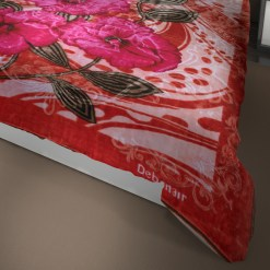Double Bed Soft Mink Blankets pink Floral