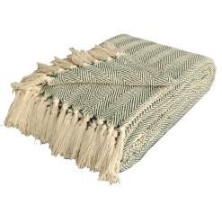 Green Cotton Blankets |Organic Bio Washed|King Sized Double Bed In Giftable Zip Packing By Avioni