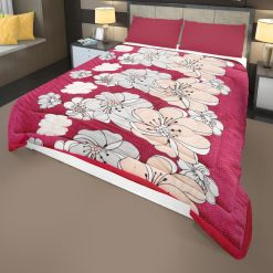 Warm Quilts for Winter|Double Bed Quilt( Rajai) | Microfiber Filling| Heavy Weight|Red Florals|Avioni