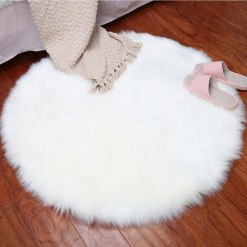 Round Rug – Shaggy Carpet – Snow White Premium Long Fur – 60 cm Dia By Avioni