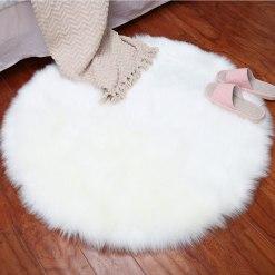 Round Rug – Shaggy Carpet – Snow White Premium Long Fur – 45 Inch Dia By Avioni