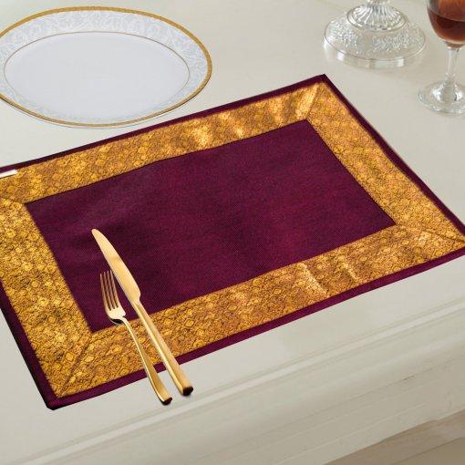 Avioni Ethnic Banarasi Design Table mats (Set of 6)- Purple