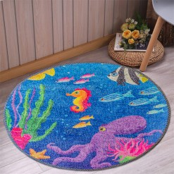 Avioni Carpet For Kids Room – Round -Ocean Blue