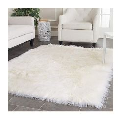 Soft Shaggy Rugs  – Fluffy Rug  –  Snow White Premium Long Fur – 152×213 cm (5×7 Feet)- Avioni Carpets