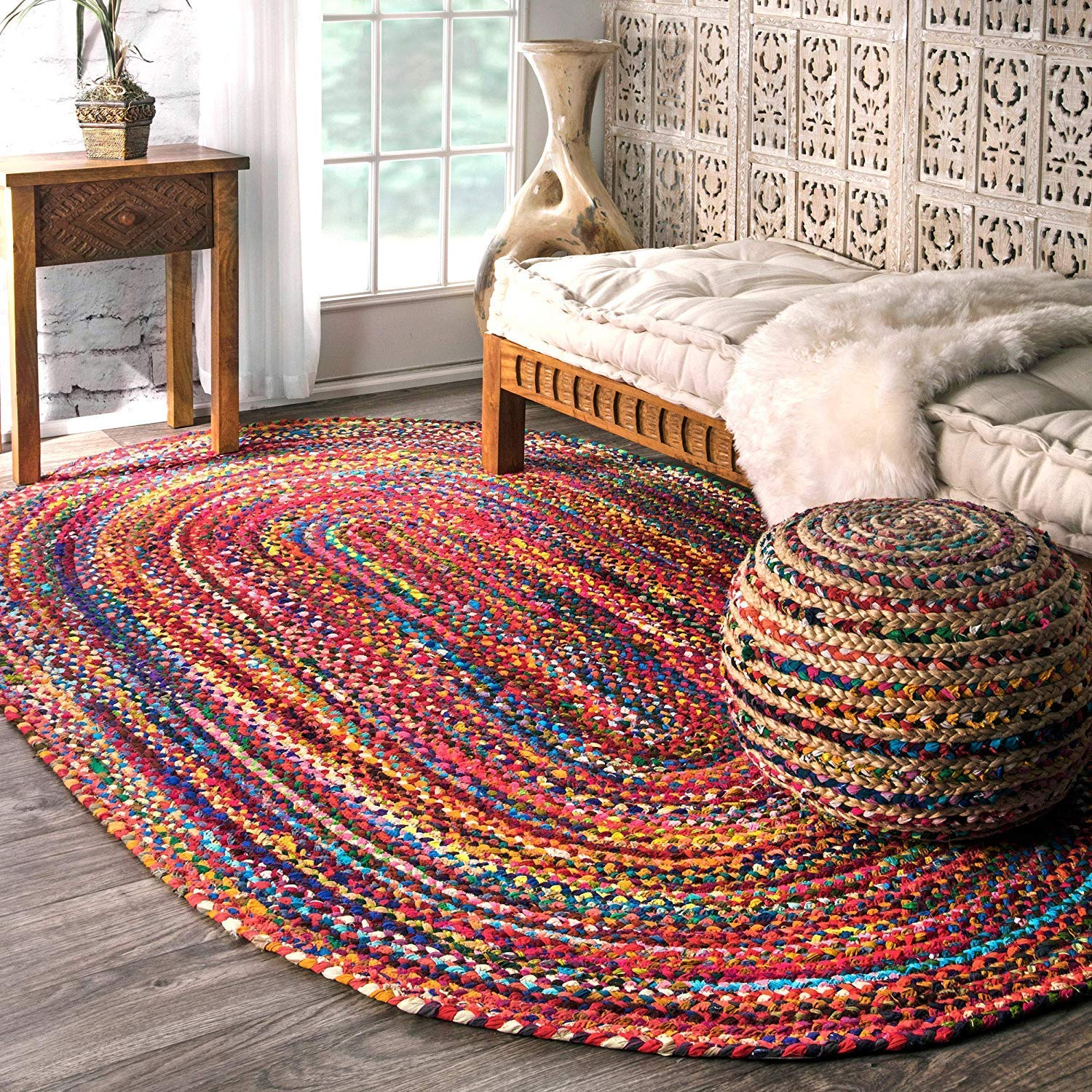 Cotton Chindi Oval Carpets Braided Area Rugs Round Rug