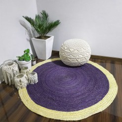 Jute Mat – Natural Rugs – Braided Area Rug – Grape- Voilet With Border – Handmade & Unbleached  – Avioni Premium Eco Collection