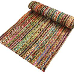 Chindi With Jute Handmade Braided Area Rugs|Runner for Bedside, Hallway or Kitchen| Avioni- Premium Collection-56×140 cm