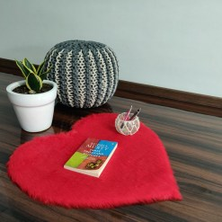 Shaggy Carpet – Heart Shaped Rug –  Premium  Fur – 62 cm  – Avioni Carpets- Red Colour (1+1- set of 2 )