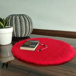 Shaggy Carpet  –  Premium  Fur – 60 cm Round – Avioni Carpets- Red Colour (1+1- set of 2 )