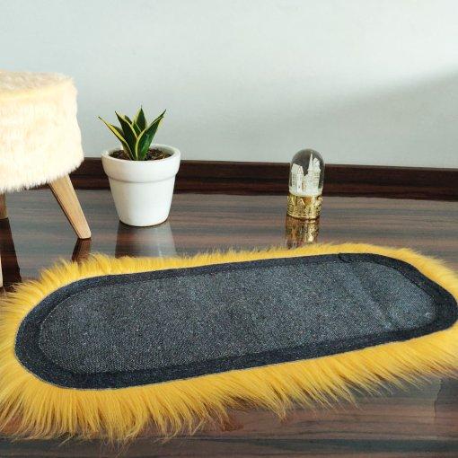 Shaggy Carpet –  Premium Long  Fur – 88X40 cm Oval Shape – Avioni Carpets- Brown