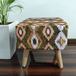 BIGMO Southwestern Home Utility Padded Stool/ Ottoman Square-(Natural Finish)