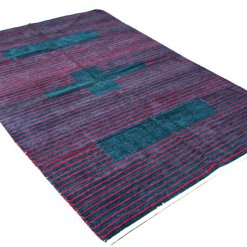 Multipurpose Handloom Chenille Rugs (DURRIES) in Blue with Pink Color by AVIONI – 122 cm x 183 cm (4 x 6 feet)