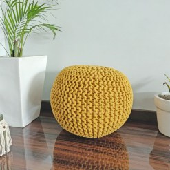 BIGMO Luxury Hand Knotted Boho Look Pouf/ Ottoman Large Size- Yellow Colour- 35x40x40