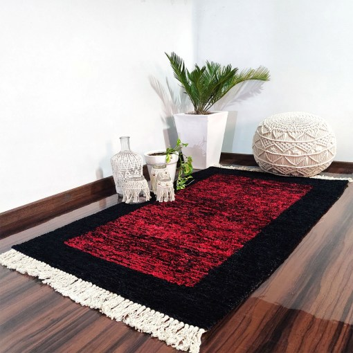 Avioni Carpets for Living Room – Neo Modern Collection Red And Black Carpet/Rug – 90cm x 150cm (~3×5 Feet)