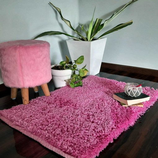 Shaggy Carpet | Washable | Hand Woven Super Luxurious Feel | Export Quality- Pink Color
